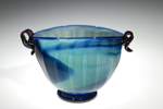 blue green glass bowl