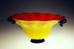 red yellow glass bowl